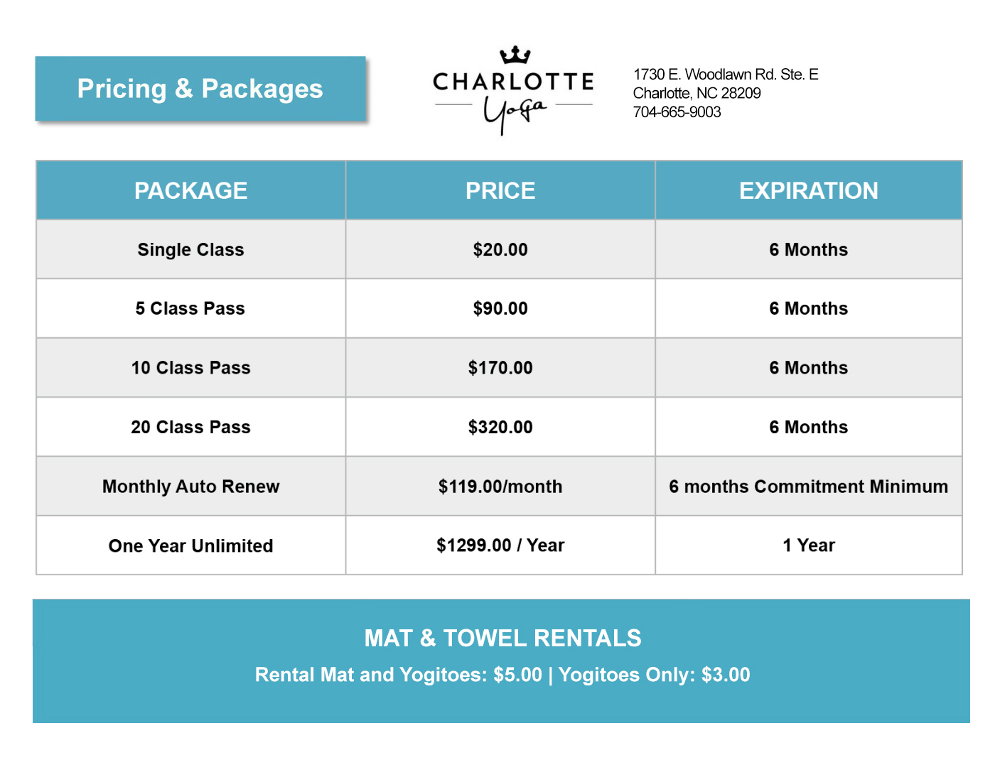 package deals to charlotte nc